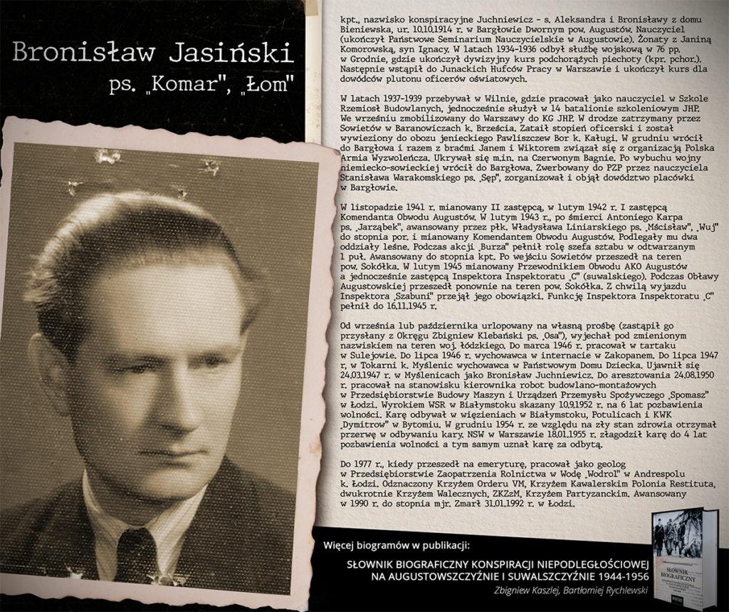 Klub Historyczny im. AK  w Augustowie – biogram Bronisław Jasiński